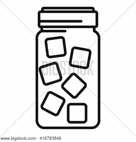 Sugar Jar Icon. Outline Sugar Jar Vector Icon For Web Design Isolated On White Background