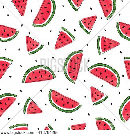Seamless Watermelons Pattern. Vector Summer Background With Watermelon Slices.