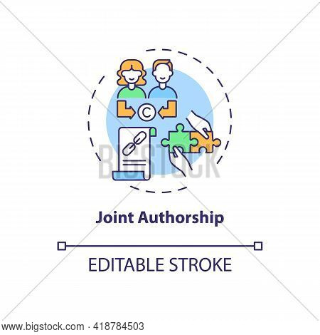 Joint Authorship Concept Icon. Copyright Law Special Rule Idea Thin Line Illustration. Joint Work. C