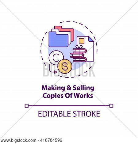 Making And Selling Works Copies Concept Icon. Exclusive Author Right Idea Thin Line Illustration. Pe