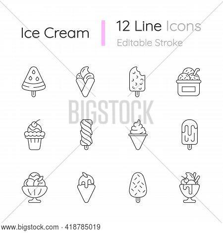 Ice Cream Varieties Linear Icons Set. Watermelon Shape On Stick. Soft Serve. Creamy Dessert. Sorbet.