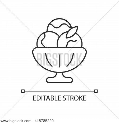 Sorbet Linear Icon. Sherbet Ice Cream. Fruit-forward Frozen Treat. Made From Fruit, Ice. Thin Line C