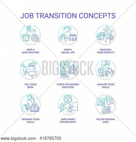 Job Transition Concept Icons Set. Career Change Advices Idea Thin Line Rgb Color Illustrations. How