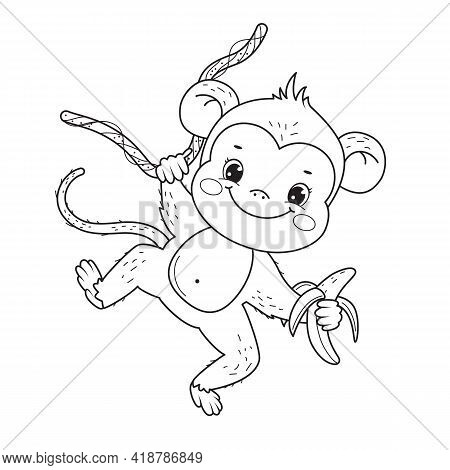 Cute Smile Monkey Kid For Coloring Book.line Art Design For Kids Coloring Page.