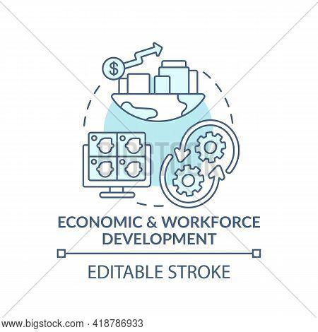 Economic And Workforce Development Turquoise Concept Icon. Technology Improvement. Digital Inclusion