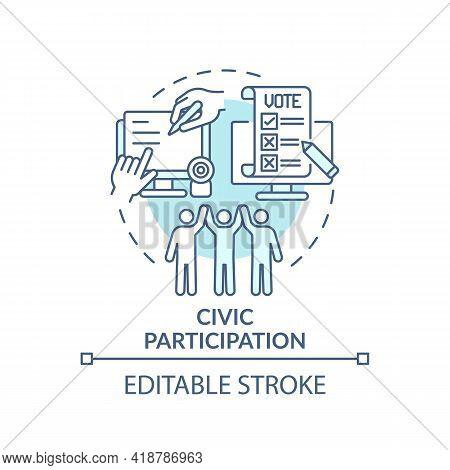 Civic Participation Turquoise Concept Icon. Social Engagement. Technology Integration. Digital Inclu