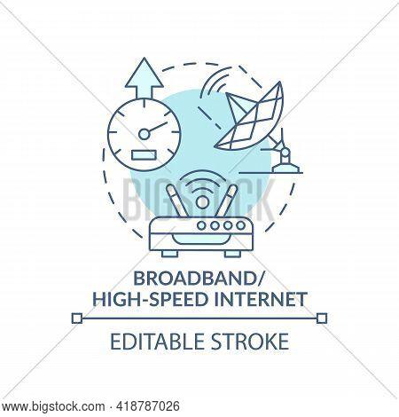 Broadband, High Speed Internet Turquoise Concept Icon. Broadcasting Telecommunication Signal. Digita