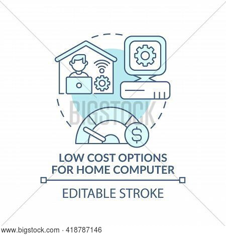 Low Cost Options For Home Computer Turquoise Concept Icon. Affordable Personal Computer. Digital Inc
