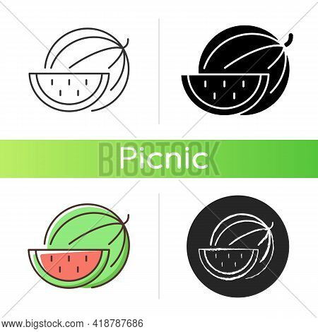 Watermelon Icon. Serving Fruit For Picnic. Low-calorie Treat. Body Detoxification. Fighting Dehydrat