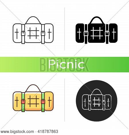 Picnic Blanket Icon. Houseware Item. Cloth Napkin. Backpacking Trip. Laying On Ground For Camping. O