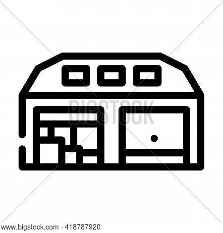 Warehouse Wholesale Line Icon Vector. Warehouse Wholesale Sign. Isolated Contour Symbol Black Illust