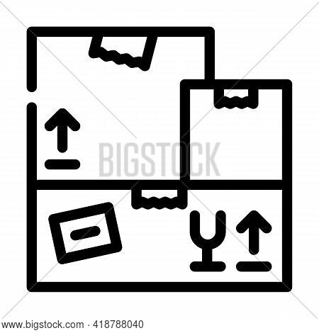 Carton Boxes Wholesale Line Icon Vector. Carton Boxes Wholesale Sign. Isolated Contour Symbol Black