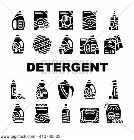Detergent Washing Collection Icons Set Vector. Detergent Pods And Liquid, Laundry Ball And Pills, Or