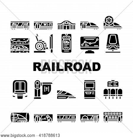 Railroad Transport Collection Icons Set Vector. Train Wagon Restaurant And Carriage, Hyperloop And M