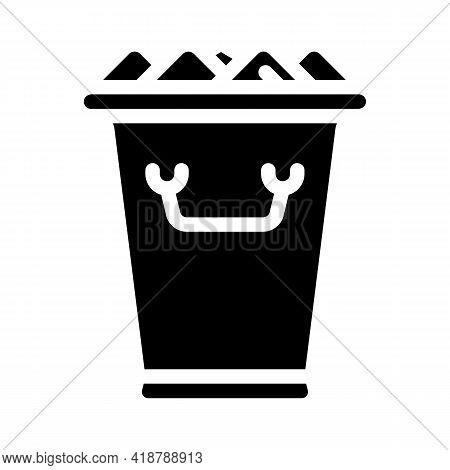 Ice Bucket Bartender Glyph Icon Vector. Ice Bucket Bartender Sign. Isolated Contour Symbol Black Ill