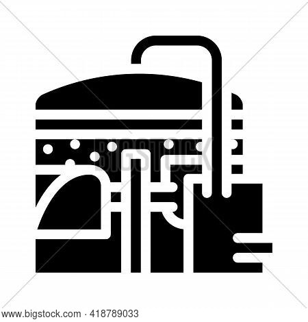 Methane Tank Or Biogas Plant, Digester Or Reactor Glyph Icon Vector. Methane Tank Or Biogas Plant, D