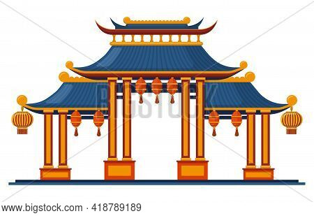 Chinese Traditional Entrance. Asian Traditional Architectural Pagoda Gate Isolated Vector Illustrati
