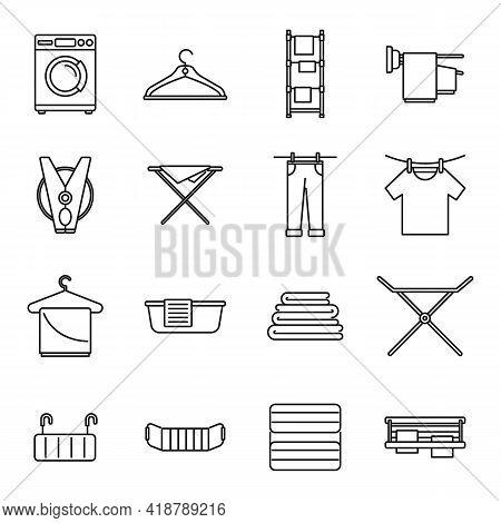 Tumble Dryer Machine Icons Set. Outline Set Of Tumble Dryer Machine Vector Icons For Web Design Isol