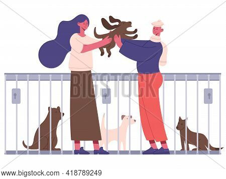 Pet Adoption. People Adopting Dog From Pet Shelter, Happy New Owners Hugging Puppy. Animal Adoption