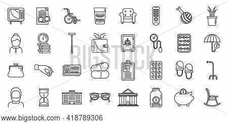 Retirement Plan Icons Set. Outline Set Of Retirement Plan Vector Icons For Web Design Isolated On Wh