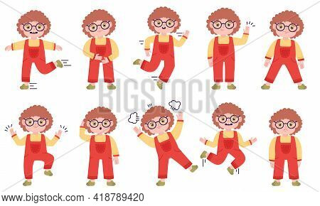 Cute Boy Expression. Little Boy Happy, Sad And Angry Emotions, Kid Expression Isolated Vector Illust