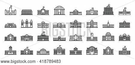 Parliament Building Icons Set. Outline Set Of Parliament Building Vector Icons For Web Design Isolat