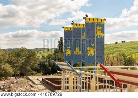 Kiryat Gat, Israel, March 27, 2021 : Models Of Flags Of The Times Of The Crusades On The Roof Of The