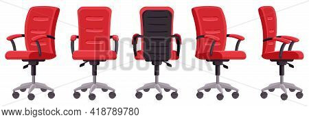 Cartoon Office Chair. Computer Chair In Different Angles, Ergonomic Office Furniture Element Isolate