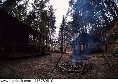 South Poland: Barbecue Location In The Middle Of The Forest Surrounded With Trees. Wilderness Wide A