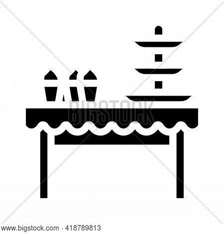 Dessert Table Buffet Glyph Icon Vector. Dessert Table Buffet Sign. Isolated Contour Symbol Black Ill