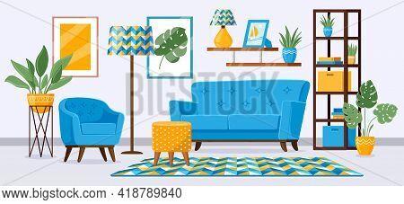 Cartoon Living Room Interior. Apartment Living Room With Modern Furniture, Sofa, Armchair, Bookshelf