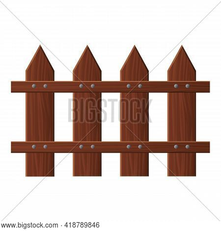 Garden Fence Icon. Cartoon Of Garden Fence Vector Icon For Web Design Isolated On White Background