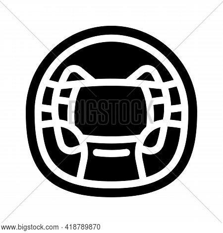 Steering Wheel Car Glyph Icon Vector. Steering Wheel Car Sign. Isolated Contour Symbol Black Illustr