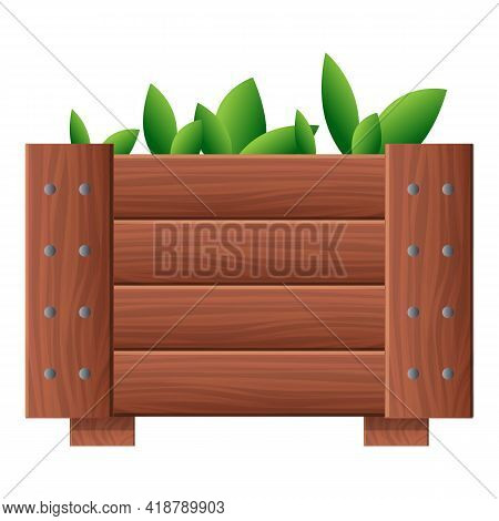 Garden Plant Wood Pot Icon. Cartoon Of Garden Plant Wood Pot Vector Icon For Web Design Isolated On