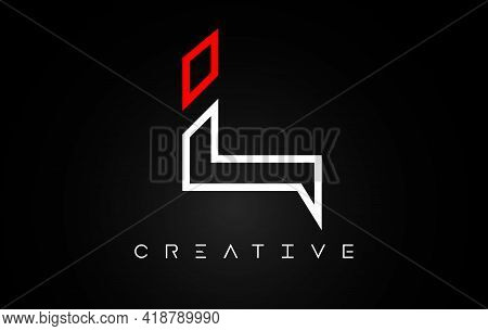 L Letter Design Logo With Monogram Line White And Red Colors On A Black Background Vector