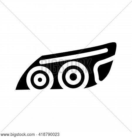 Headlight Car Glyph Icon Vector. Headlight Car Sign. Isolated Contour Symbol Black Illustration