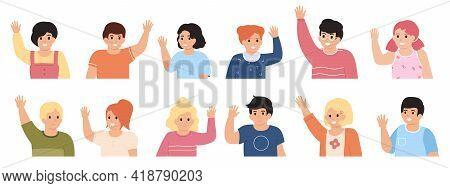 Kids Waving Hands. Cute Children Raising Hands, Cheerful Little Boys And Girls Vector Illustration S
