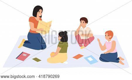 Elementary School Lesson. Female Kindergarten Teacher Reading Book To Children Group Vector Illustra