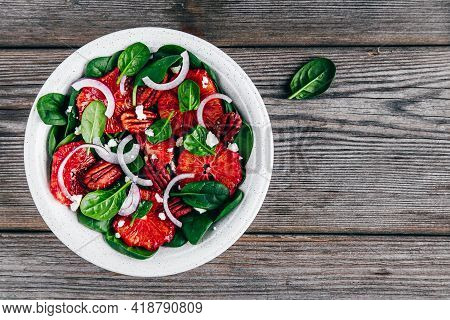 Citrus Spinach Salad With Pecan, Red Onions And Goat Cheese Or Feta