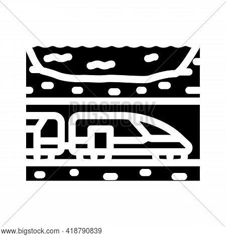Underwater Railway Tunnel Glyph Icon Vector. Underwater Railway Tunnel Sign. Isolated Contour Symbol