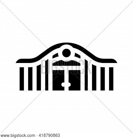 Railway Station Glyph Icon Vector. Railway Station Sign. Isolated Contour Symbol Black Illustration