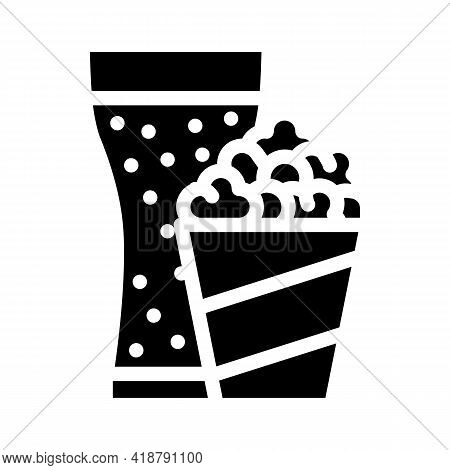 Popcorn Snack And Drink Glass Glyph Icon Vector. Popcorn Snack And Drink Glass Sign. Isolated Contou