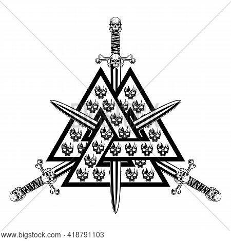 Sacred Symbol Of The Viking. Sign Of A Celtic Warrior. Crossed Swords. Scandinavian Myths. Vector Il