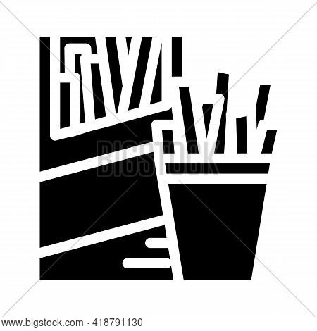 Straws Snack Glyph Icon Vector. Straws Snack Sign. Isolated Contour Symbol Black Illustration