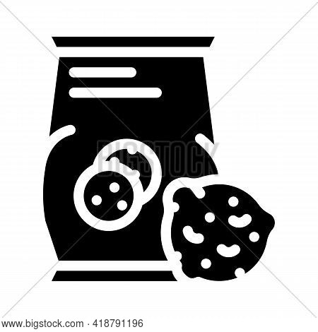 Oatmeal Cookies Snack Glyph Icon Vector. Oatmeal Cookies Snack Sign. Isolated Contour Symbol Black I
