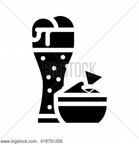 Nachos Snack And Beer Glyph Icon Vector. Nachos Snack And Beer Sign. Isolated Contour Symbol Black I