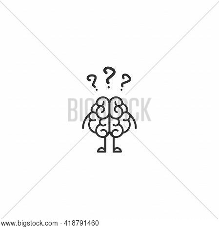 Black Brain Character With Hands, Legs And Question Marks. Intellect, Phsychology, Knowledge Simple
