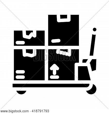 Transporter Cart Wholesale Glyph Icon Vector. Transporter Cart Wholesale Sign. Isolated Contour Symb