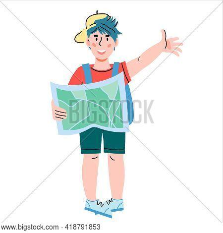 Cute Child Girl The Little Explorer, Traveler Ready For Adventure. Girl Scout Or Little Camper Carto