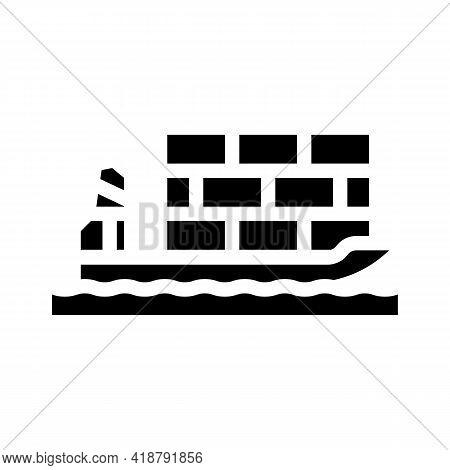 Sea Transportation Wholesale Glyph Icon Vector. Sea Transportation Wholesale Sign. Isolated Contour